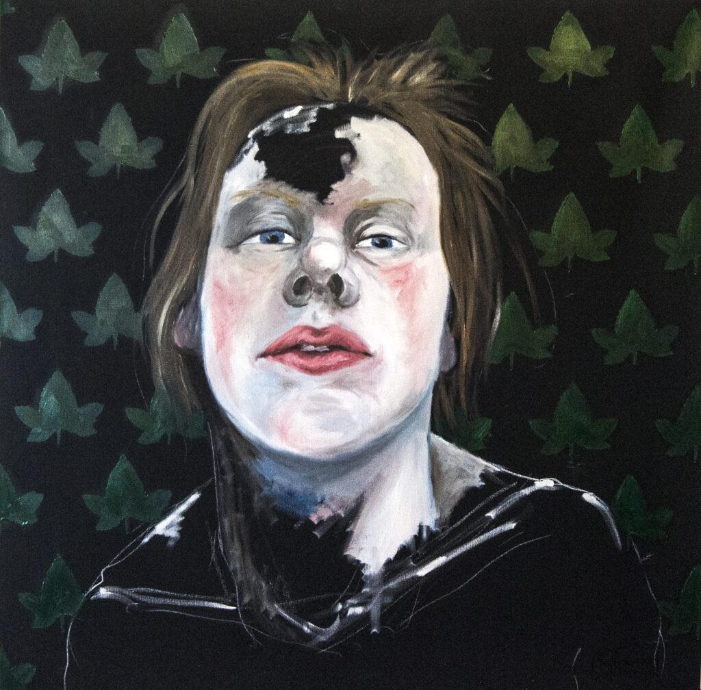 Selvportræt med efoy | 100x100 cm | Olie og akryl på lærred