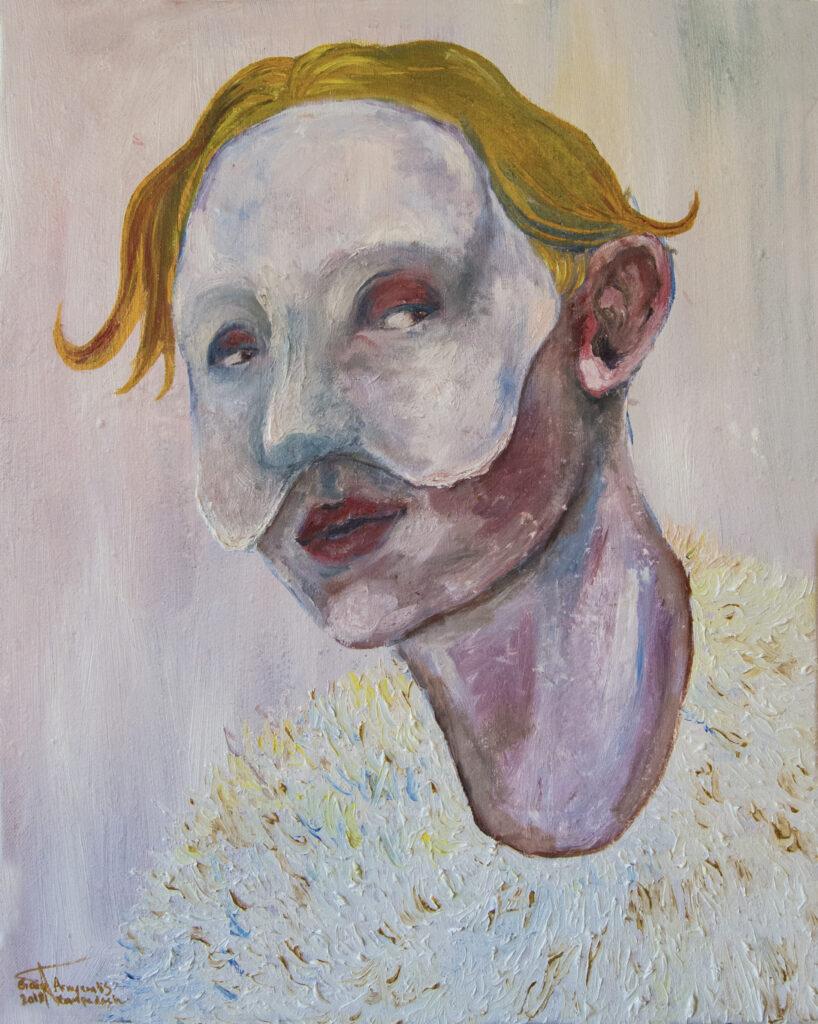 Masked selfportrait | 50x40 cm | Olie og akryl på lærred