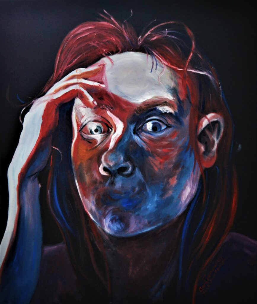 Selvportræt | 70x60 cm | Olie og akryl på lærred