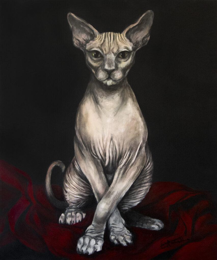 Sphinx cat | 60x50 cm | Olie og akryl på lærred
