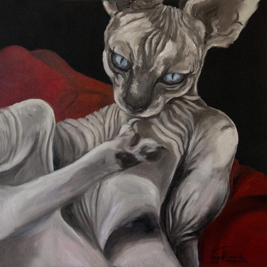 Sphinx cat | 50x50 cm | Olie og akryl på lærred